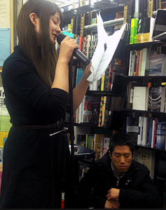 With Tao Lin at a reading.