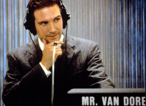 "Ralph Fiennes as Charles Van Doren, the more ""likable"" contestant."